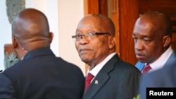 Perezida Jacob Zuma ava mu biro vya Perezida w'inama nshingamateka i Cape Town, Afrika y'epfo, ukwezi kwa kabiri, itariki 7, 2018