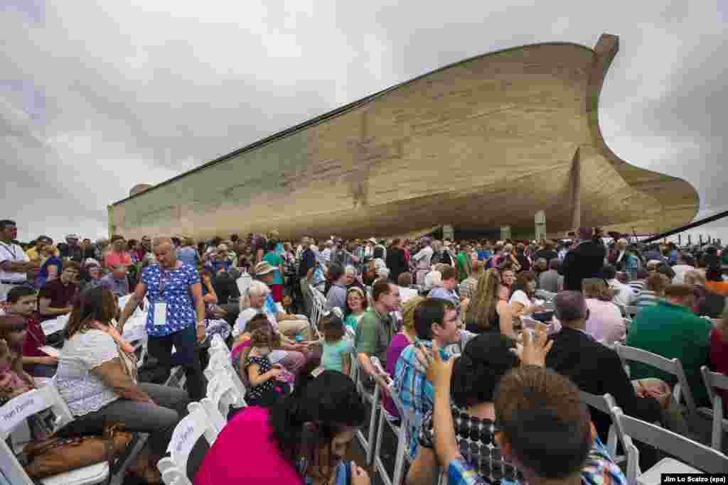 Visitors gather outside Ark Encounter, 510-foot-long re-creation of Noah's Ark in Williamstown Kentucky, USA, 05 July 2016. Ark Encounter is the brainchild of Australian-born creationist Ken Ham.