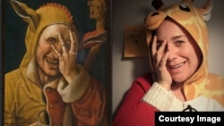 """Laughing Fool"" painting attributed to Jacob Cornelisz van Oostsanen. Image: Davis Museum at Wellesley College. Recreation by Tiffanie Pierini Ho via Facebook."