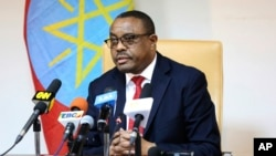 Ethiopian Prime Minister Hailemariam Desalegn is pictured at a news conference in Addis Ababa, Feb. 15, 2018. Desalegn stepped down last month; the ruling coalition has elected Abiy Ahmed as the new prime minister.
