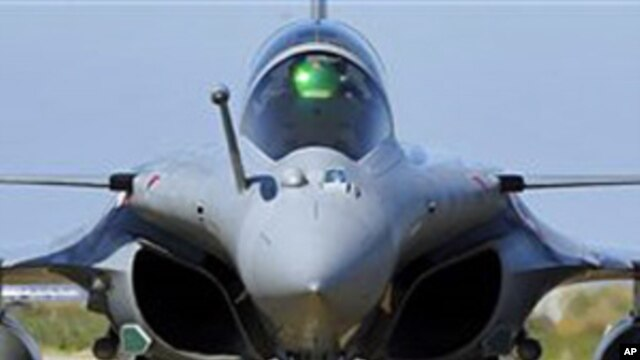 French Air Force Rafale jet fighter comes back from a mission to Libya, at Solenzara Air Base, Corsica, March 24, 2011