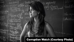 Kavisha Pillay inside the Corruption Watch boardroom - her launchpad for her fight against graft in South Africa.