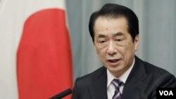 PM Naoto Kan saat memerintahkan Chubu Electric Power Co. untuk menghentikan operasi PLTN di Hamaoka (6/5).