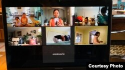 Kelas Yoga online Rini Marwini melalui zoom (dok: pribadi)