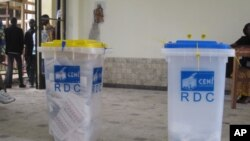 Ballot boxes on election day in DRC.