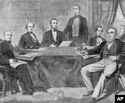 林肯(左四)与他的内阁成员