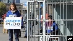 Акция протеста в поддержку активистов «Гринпис»