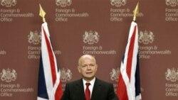 ویلیام هیگ وزیر امور خارجه بریتانیا در کنفرانس مطبوعاتی روز چهارشنبه درباره لیبی در وزارت امور خارجه در لندن. ۲۷ ژوئیه ۲۰۱۱
