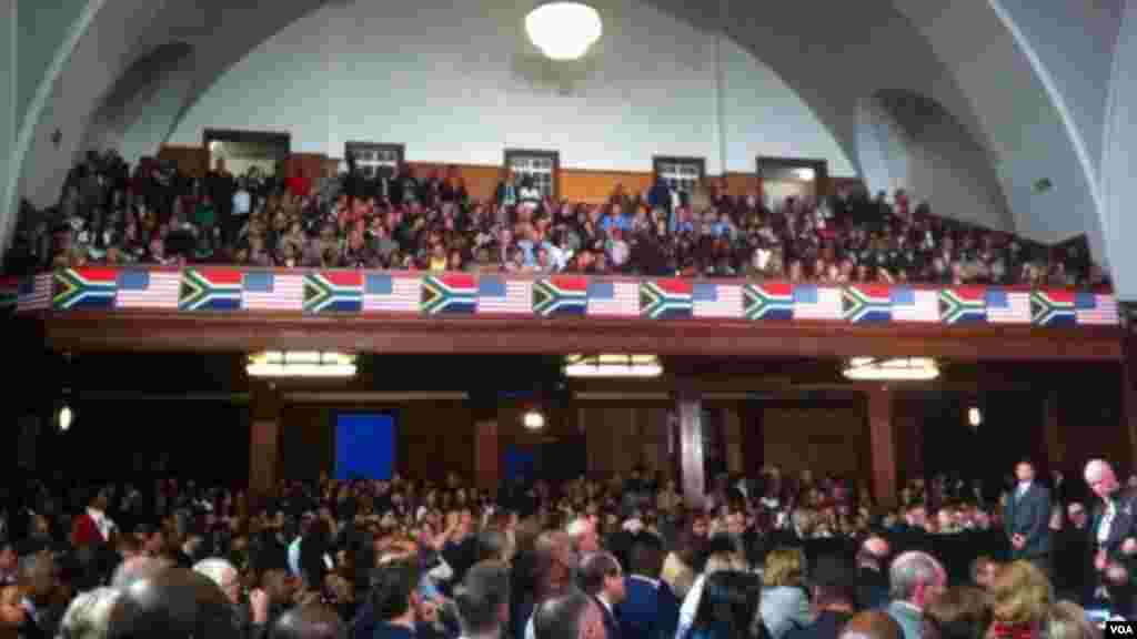 Audince during President Obama's visit to Robben Island prison in South Africa.
