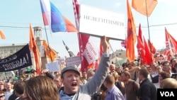 The Anti-Putin protest rally on 06 May in Moscow. Slogan:Putin is a Illegal president. 5月6日莫斯科的反普京抗议示威,男子高呼的口号:普京是非法总统