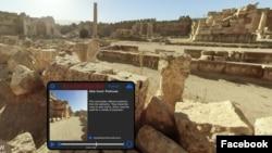 Teknologi memungkinkan para turis mengunjungi kota kuno Baalbek, salah satu situs sejarah terbesar di Lebanon di era pandemi COVID-19. (Foto: Facebook/Flyover Zone)