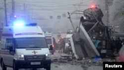 Lokasi ledakan bom dalam bus troli di Volgograd (30/12).