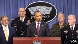 Presiden Amerika Barack Obama mengumumkan rencana strategi baru militer AS, termasuk pemotongan anggaran Pentagon miliaran dolar (5/1).