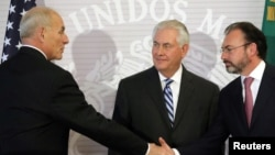 U.S. Secretary of State Rex Tillerson, Secretary of Homeland Security John Kelly with Mexico's Foreign Secretary Luis Videgaray. (Feb. 23, 2017)