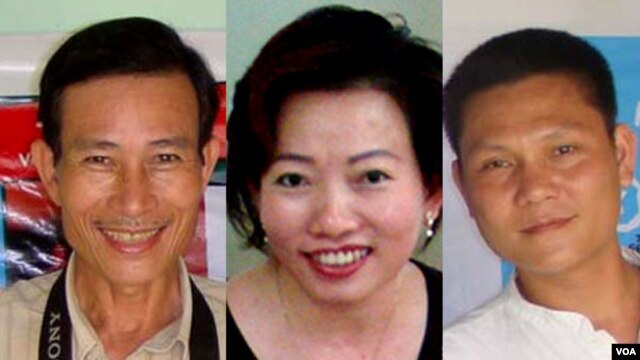 Blogger Điếu Cày, Tạ Phong Tần, và AnhbaSaigon (từ trái qua phải).