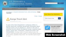 美國發出歐洲恐怖襲擊旅行警告(美國國務院網頁截屏)