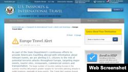 美国发出欧洲恐怖袭击旅行警告(美国国务院网页截屏)
