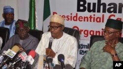 Nigerian opposition leader Muhammadu Buhari, from the Progressives Congress APC party, speaks at a press conference in Abuja, Nigeria, Sunday, Feb. 8, 2015.