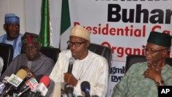 Dan takarar shugaban kasa a karkashin jam'iyar APC, Janar Muhammadu Buhari, ya na jawabi a wajen WANI taron manema labarai.