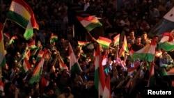 库尔德人在伊拉克杜胡克庆祝独立公投 (2017年9月26日)