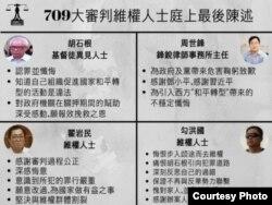 """中国维权律师关注组总结的""""709""""审判四名被告人庭上最后陈述(网络截图)。"""