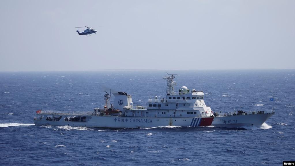 中國軍艦和直升機在帕拉塞爾群島(中國稱西沙群島)舉行海上搜救演習- 資料