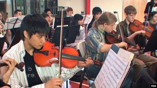 Một lớp học âm nhạc của học sinh ở Fairfax, Virginia.