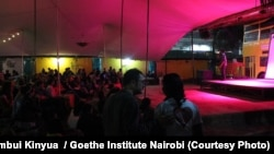 "A recent screening of the Sudanese movie ""Beats of the Antonov"" organized by the Goethe Institute at a local venue in Nairobi, Kenya."