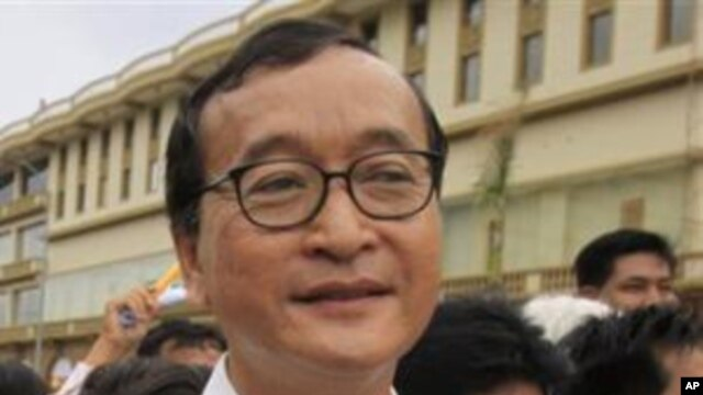 Cambodia's opposition leader in exile Sam Rainsy (file photo).