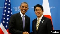日本首相安倍晉三(右)下周訪問華盛頓期間,將會和美國總統奧巴馬(左)會面。