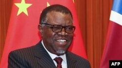 Le président namibien Hage Geingob à Beijing, le 30 mars 2018.