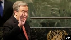 Ông Antonio Guterres tuyên thệ nhậm chức tại trụ sở Liên Hiệp Quốc, ngày 12/12/2016.