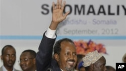 Somalia's new president Hassan Sheikh Mohamud, a political newcomer, after being elected by parliament, Mogadishu, Sept. 10, 2012.