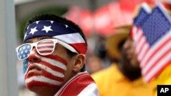 Un supporter américain avant le match des demi-finales entre les Etats-Unis et l'Argentine (0-4), 21 juin 2016, Houston, Texas