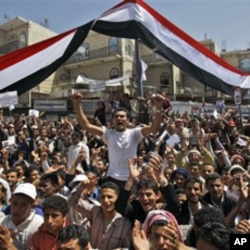 Anti-government protestors chant slogans during a demonstration demanding the resignation of Yemeni President Ali Abdullah Saleh, in Sanaa, Yemen, February 24, 2011