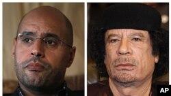 Recherchés par la CPI : Séïf al-Islam Kadhafi (à g.) et Mouammar Kadhafi (à dr.)