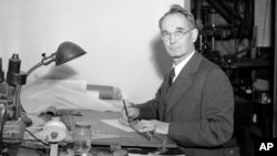 FILE - Harvard University's Dr. Percy Bridgman, for whom the newly sampled mineral was named, Nov. 5, 1946.