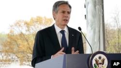 美国国务卿布林肯在马里兰州安纳波利斯的切萨皮克湾基金会就气候问题发表讲话。(2021年4月19日)