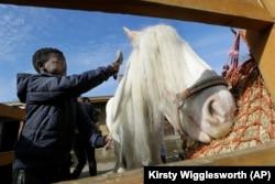 Shaddai Mcleod, 9, brushes Rose at Ebony Horse Club in Brixton, south London, April 18, 2021.