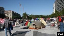La ocupación de la Plaza de la Libertad a unas pocas cuadras de la Casa Blanca, en Washington, es una de las tantas manifestaciones en EE.UU.