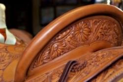 Some of Nancy Martiny's saddles have complex flower designs