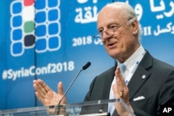 "U.N. Special Envoy of the Secretary-General on Syria Staffan de Mistura addresses the media during a conference on ""Supporting the Future of Syria and the Region"" at the EU Council in Brussels, April 25, 2018."