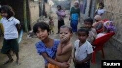 미얀마 락힌 주의 난민수용소에 소수민족 로힝야족 아이들 모습이 보인다. (자료사진)