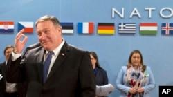 Pompeo en Bélgica, en la sede de la OTAN.