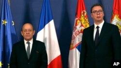 Ministar spoljnih poslova Francuske Žan Iv Le Drijan i predsednik Srbije Aleksandar Vučić tokom susreta u Beogradu, 12. april 2018.