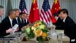 Tổng thống Mỹ Barack Obama và Chủ tịch Trung Quốc Tập Cận Bình hội kiến tại Rancho Mirage, California, 7/6/2013
