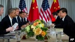 Una reunión entre el presidente Barack Obama y su homólogo chino, Xi Jinping en 2013 en California.