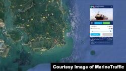 북한산 석탄을 실은 선박 동탄호의 지난 11일 위치를 보여주는 마린트래픽 자료. 이 배는 말레이시아 케마만 입항이 거부된 후 말레이시아 최남단에서 9km 떨어진 해상 주변을 맴돌고 있다.