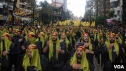 Hizbulloh tarafdorlari Bayrut ko'chalarida