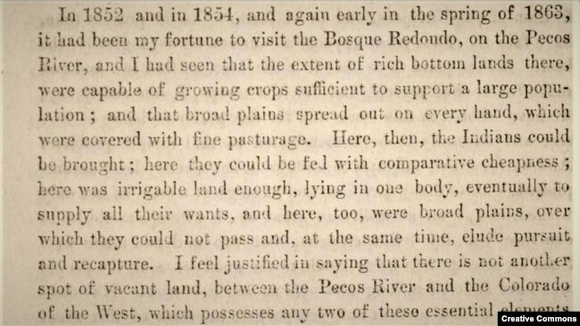 "Screenshot of passage from ""To the people of New Mexico...why the Navajo Indians have been located upon a reservation at the Bosque Redondo,"" by U.S. Army General James H. Carleton, 1864"